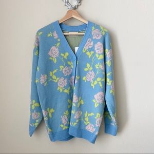 NWT Urban Outfitters Blue Floral Cardigan